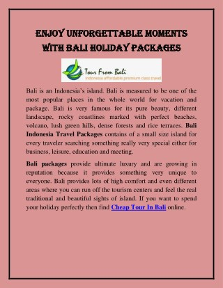 Enjoy Unforgettable Moments With Bali Holiday Packages