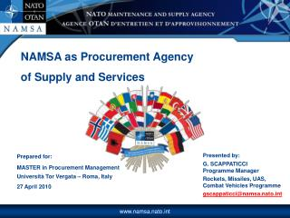 NAMSA as Procurement Agency  of Supply and Services