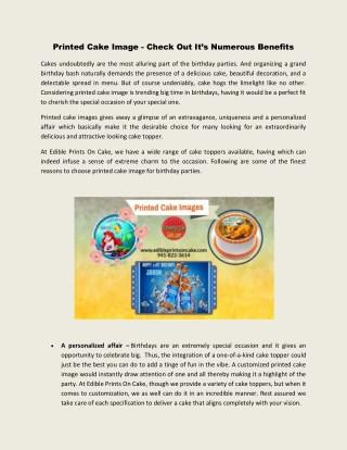 Printed cake image | Edible Prints On Cake | Edible Birthday Cake Topper