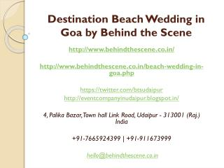 Destination Beach Wedding in Goa by Behind the Scene
