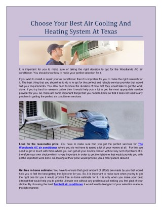 Air Cooling And Heating Systems