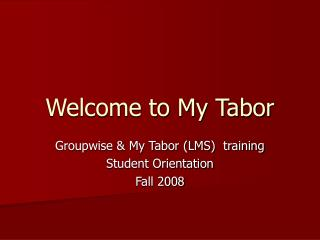Welcome to My Tabor