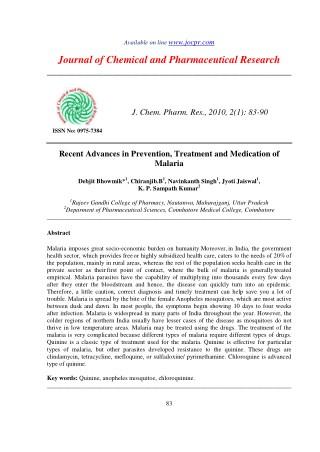 Recent Advances in Prevention, Treatment and Medication of Malaria