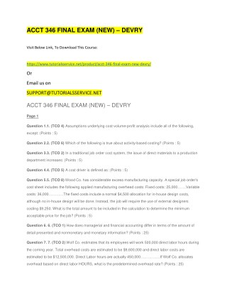 ACCT 346 FINAL EXAM (NEW) – DEVRY
