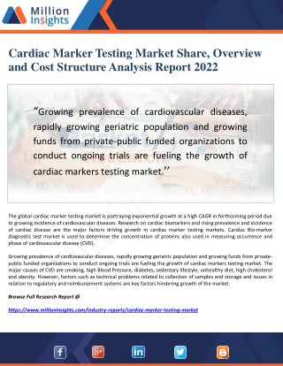 Cardiac Marker Testing Market Share, Overview and Cost Structure Analysis Report 2022