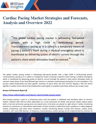 Cardiac Pacing Market Strategies and Forecasts, Analysis and Overview 2022
