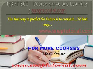 MGMT 600 course Marvelous Learning / snaptutorial.com