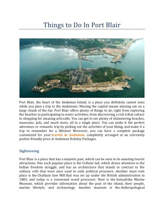 Things To Do In Port Blair – Andaman Holiday Packages