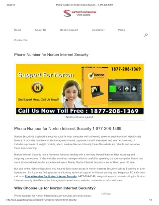 Phone Number 1-877-208-1369 for Norton Internet Security