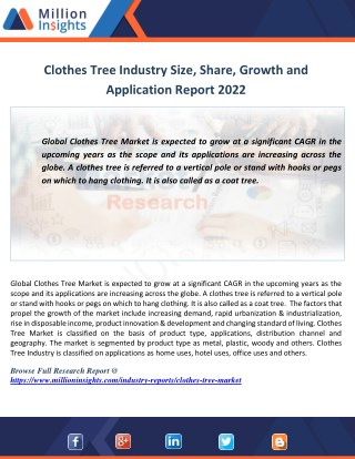 Clothes Tree Market Demand,key Players,Trend and Global Analysis Report 2022