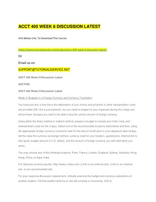 ACCT 405 WEEK 6 DISCUSSION LATEST