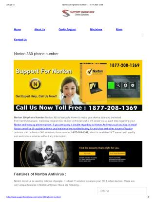 Norton 360 phone number 1877-208-1369 | Contact Us