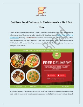 Get Free Food Delivery In Christchurch – Find Out How