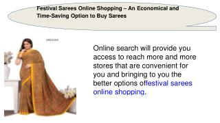 Festival Sarees Online Shopping – An Economical and Time-Saving Option to Buy Sarees