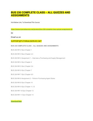 BUS 230 COMPLETE CLASS – ALL QUIZZES AND ASSIGNMENTS