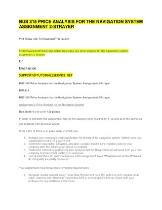 BUS 315 PRICE ANALYSIS FOR THE NAVIGATION SYSTEM ASSIGNMENT 2-STRAYER