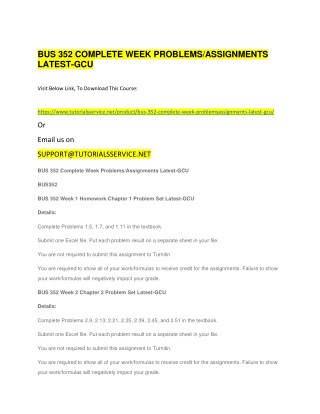 BUS 352 COMPLETE WEEK PROBLEMS/ASSIGNMENTS LATEST-GCU