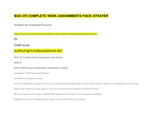 BUS 375 COMPLETE WEEK ASSIGNMENTS PACK-STRAYER