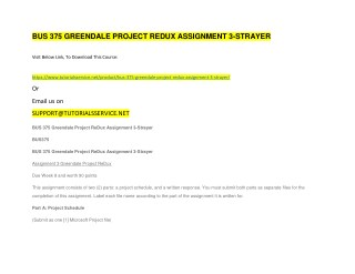BUS 375 GREENDALE PROJECT REDUX ASSIGNMENT 3-STRAYER