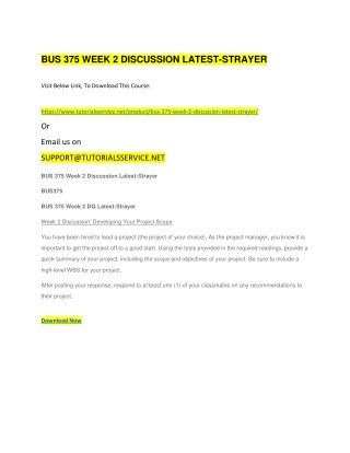 BUS 375 WEEK 2 DISCUSSION LATEST-STRAYER