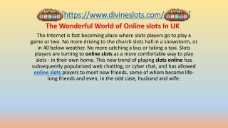 The Wonderful World of Online slots In UK