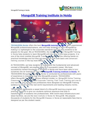 MongoDB Training in Noida