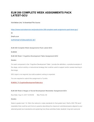 ELM 200 COMPLETE WEEK ASSIGNMENTS PACK LATEST-GCU