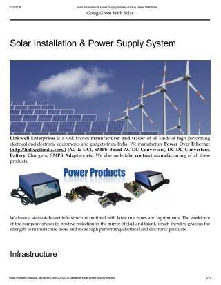 Solar Installation & Power Supply System