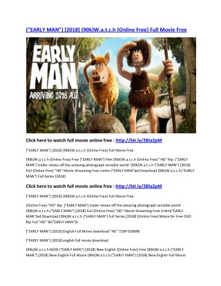 "(""EARLY MAN"") [2018] {90k}W.a.t.c.h {Online Free} Full Movie Free"