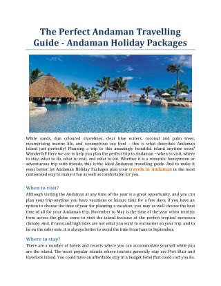 The Perfect Andaman Travelling Guide - Andaman Holiday Packages