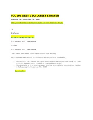 POL 300 WEEK 3 DQ LATEST-STRAYER