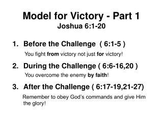 Model for Victory - Part 1 Joshua 6:1-20