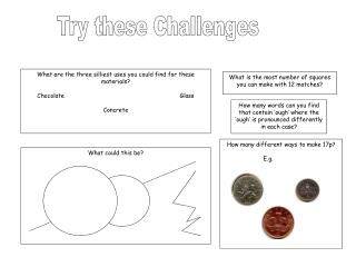 How many different ways to make 17p? E.g.