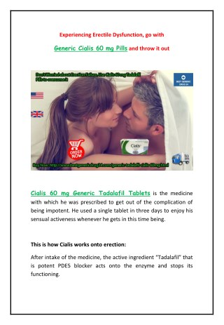 Buy Generic Cialis 60 mg Tadalafil Pills Online at Cheap Price from BestGenericDrug24