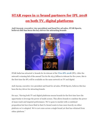 STAR ropes in 11 brand partners for IPL 2018 on both TV, digital platforms