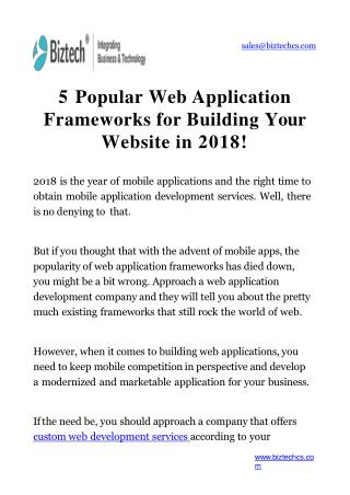 5 Popular Web Application Frameworks for Building Your Website in 2018!