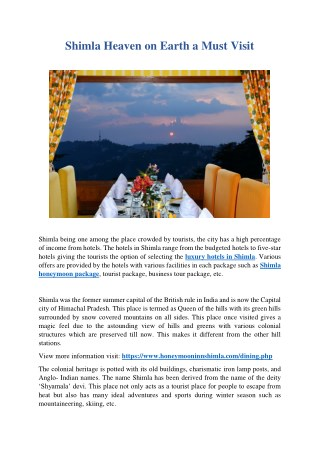 PPT - Shimla Heaven on Earth a Must Visit PowerPoint Presentation