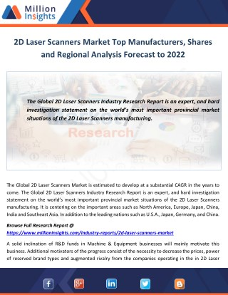 2D Laser Scanners Market Region, Applications, Types, and Market Consumption Forecast by 2017 - 2022