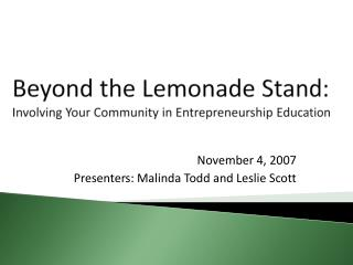 Beyond the Lemonade Stand: Involving Your Community in Entrepreneurship Education