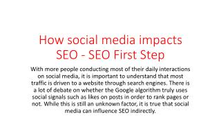 How social media impacts SEO - SEO First Step
