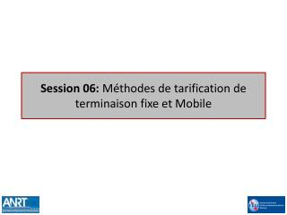 Session 06:  Méthodes de tarification de terminaison fixe et Mobile