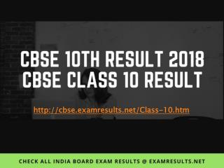 CBSE 10th Result 2018, Central Board of Secondary Education - CBSE Result 2018