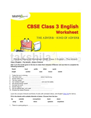 Practice Grammar Worksheet For CBSE Class 3 English - The Adverb