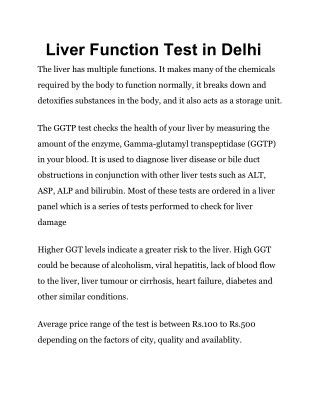 Liver function test in Delhi