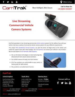 Live Streaming Commercial Vehicle Camera Systems