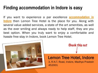 Accommodation in Indore