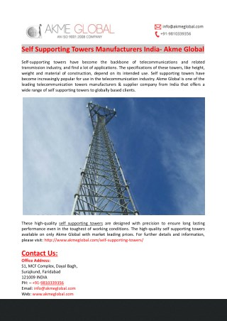 Self Supporting Towers Manufacturers India- Akme Global