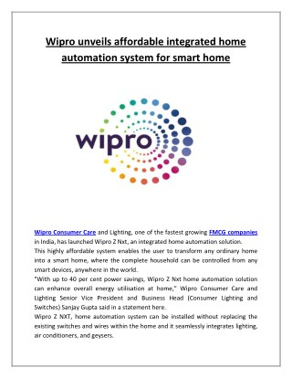 Wipro unveils affordable integrated home automation system for smart home