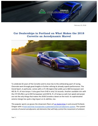 Car Dealerships in Portland on What Makes the 2018 Corvette an Aerodynamic Marvel