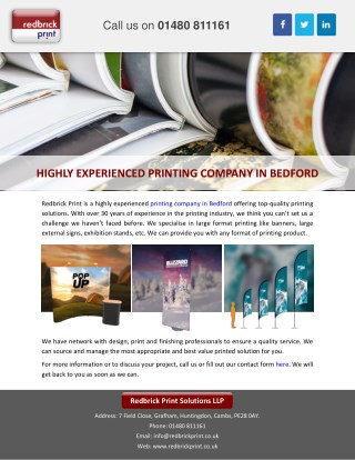 HIGHLY EXPERIENCED PRINTING COMPANY IN BEDFORD